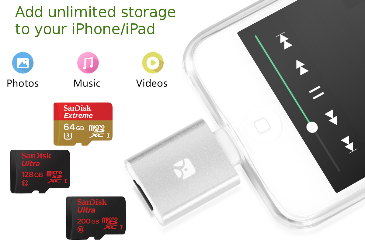 Dash-i and Dash-i Plus MicroSD Reader for iPhone/iPad by Meenova
